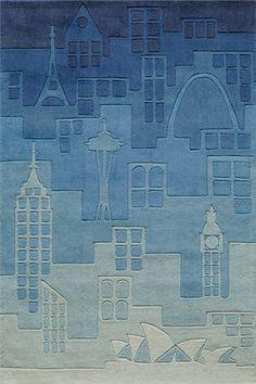 Hipster Blue Urban Landscape Rug