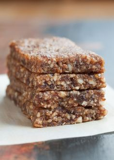 "Gingerbread Energy Bars- aka. Homemade ""Larabars"" | www.nutritiouseats.com #glutenfree #paleo #vegan #raw"