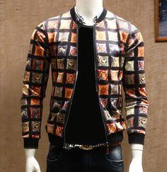 Vintage printing geometric bomber jacket for men plus size clothing jacket coat