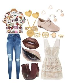 """""""oopsie daisy- tour-outfits"""" by anna-patten ❤ liked on Polyvore featuring Steve Madden, Lipsy, Lime Crime, LULUS, Sydney Evan, Kate Spade, Mehron, BCBGMAXAZRIA and Clarks"""