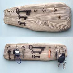 Driftwood Key Rack / holder, antique keys as embellishments.