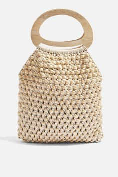Beaded Tote Bag - New In Bags & Accessories - New In - Topshop The Game Changing Accessories Every Girl Should Own RN. We've listed our game-changing accessories from statement belts, shoes and oversized scarfs. New Cheap Bags. Bag Crochet, Crochet Shell Stitch, Crochet Handbags, Bags Online Shopping, Online Bags, Shopping Bag, Purses And Handbags, Handbags On Sale, Macrame Bag