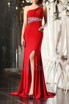 Charmeuse One Shoulder Sweep Train Empire Prom Dress with Crystal [2579] - $665.00 : Wedding Dresses
