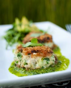 Crab Cakes with Chimichurri, Pea Sprouts & Avocado..just made a similar rendition yesterday. Delicious!