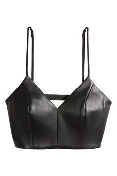 Imitation leather bustier: Bustier in imitation leather with narrow adjustable shoulder straps and bare back with horizontal elastic straps across it Jersey lining - Under Wear Diy Fashion, Ideias Fashion, Fashion Outfits, Womens Fashion, Leather Bustier, Leather And Lace, Leather Crop Top, Black Leather, Diy Clothes