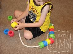 NOODLE LACING:( good for a rainy day for year olds) Use pool-noodles to make water Noodle Snakes or necklaces Rainy Day Activities, Motor Activities, Educational Activities, Learning Activities, Preschool Activities, Kids Learning, Learning Colors, Toddler Fun, Toddler Crafts