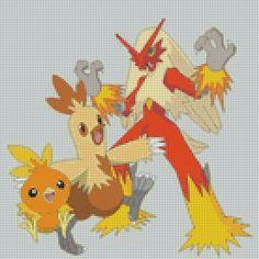 Pokemon Torchic Evolution (75 Colors) Cross Stich Pattern