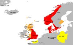 The North Sea Anglo-Saxon Empire as ruled by Cnut the Great as King of England, Denmark, Norway, and parts of Sweden between 1016 and His fleet controlled both the North Sea and the Baltic Sea. Lappland, Anglo Saxon Chronicle, Danish Vikings, Denmark Map, Norwegian Vikings, Alfred The Great, Kingdom Of Denmark, Moving To England, Vikings