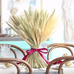 Wrapped Wheat Centerpieces