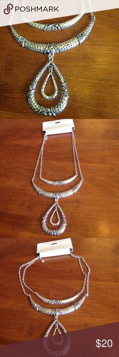 High profile silver necklace Hammered silver tone two chain chunky necklace with extender chain. NWT. Jewelry Necklaces
