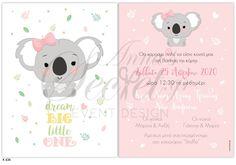 Προσκλητήριο βάπτισης για κορίτσια με κοάλα, annassecret, Event Design, Snoopy, Teddy Bear, Character, Art, Art Background, Kunst, Teddy Bears, Performing Arts