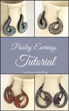 Paisley Indian inspired paper quilling earrings tutorial - Honey's Quilling