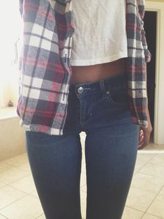 Flannel button-up. Skinnies. Tan.