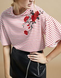 Striped T-Shirt with Embroidery - T-Shirts | Stradivarius Italia