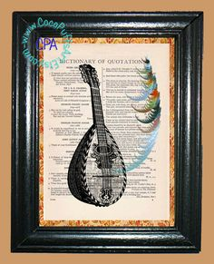 Mandolin with Fractal Art - - Vintage Dictionary Book Page Art-Upcycled Page Art,Wall Art,Collage Art,Mixed Media Art by CocoPuffsArt on Etsy
