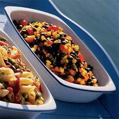 Excellent for a summer bbq!  Add flavor to canned black beans and whole kernel corn by stirring in a vinaigrette of olive oil, balsamic vinegar and lime juice, and then adding orange bell pepper, cilantro and jalapeño.