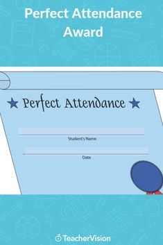 Reward perfect attendance by printing out this certificate for the appropriate student. This printable is customizable. Tailor the PDF to your needs by typing in the highlighted fields before printing. Student Rewards, Award Certificates, Attendance, Behavior Management, 5th Grades, Fields, Awards, Printing, Pdf