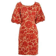 Preowned 1960's Burnt Orange And Red Floral Print Wiggle Dress ($270) ❤ liked on Polyvore featuring dresses, red, form fitting dresses, oversized dress, floral dress, flower print dress and ruched dress