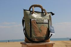 Recycled kevlar sail and leather bag with number 4 #recycled #sailbag #riciclo #vela #four #sea