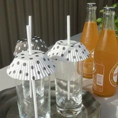 Cupcake papers serve to keep the bugs out of drinks outdoors...idea from Oh So Shabby Debbie Reynolds