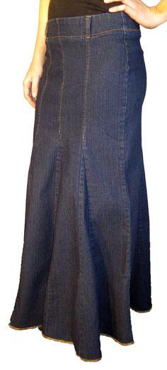 Dark Blue Flare Denim Skirt Dark Blue Flare Denim Skirt [Y-5131] - $30.00 :: DCM Apparel - Modern Modest Clothing