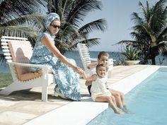 Princess Grace with Prince Albert and Princess Stephanie in Jamaica, 1967