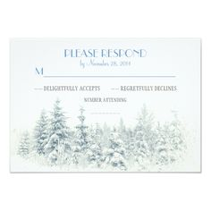 White winter wedding RSVP cards