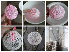 Boule DIY pour Noël blanche fil sapin corde