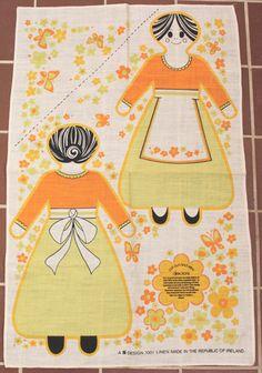 Unique Linen Cut Out Sew Traditional Irish Woman Doll Towel Panel Ireland Art | eBay