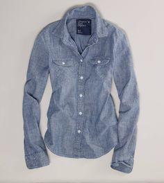 $35 AE Chambray Western Shirt