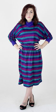 Violet Ray Dress -   1980s pretty violet Secretary Dress. Violet stripped oversized cotton dress with elastic waist. small shoulder pad.  1980's vintage -   No label -   Size L - 22.00 dollars