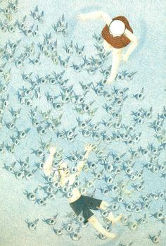Ilustración de Ji Hyeon Lee para su obra La Piscina.
