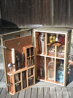Turn a vintage suitcase into an amazing portable bar so you can make all your favorite cocktails on the go!
