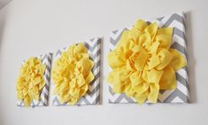 "THREE - Wall Flower Hangings -Bright Yellow Dahlia on Gray and White Chevron 12 x12"" Canvas Wall Art- 3D Felt Flower"