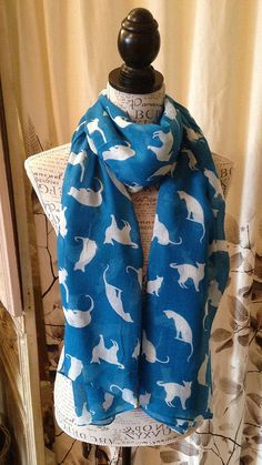 cat print scarf by french grey interiors | notonthehighstreet.com