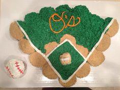 Orioles baseball cupcake cake