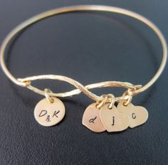 Family Tree Bracelet - Personalized Family Jewelry - A gold plated infinity symbol has been transformed into a family tree bangle bracelet with a