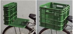 Recycled milk crate becomes a bike seat and basket
