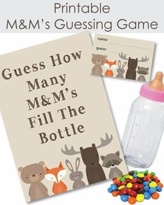 Woodland Animals Printable Candy M Baby Shower Guessing Game, Free Baby Shower Games, Baby Shower Candy, Baby Shower Prizes, Baby Shower Favors, Baby Shower Themes, Baby Shower Decorations, Baby Shower Invitations, Baby Shower Gifts
