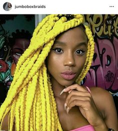 Image may contain: 1 person Colored Box Braids, Jumbo Box Braids, Braids With Shaved Sides, Beautiful Collage, Yellow Hair, Plaits, Hair Photo, Hair Art, Hair Today