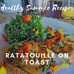 This delicious #farmtotable ratatouille on toast is one of our favorite #healthysummerrecipes at Holualoa Inn. Great for breakfast, lunch, or dinner, this dynamic and tasty dish is extremely versatile, the ingredients easily substituted with other fresh #summervegetables.  #healthyrecipes #breakfastrecipes #recipes #gourmetrecipes Healthy Summer Recipes, Ratatouille, Tasty Dishes, Gourmet Recipes, Breakfast Recipes, Toast, Yummy Food, Lunch, Fresh