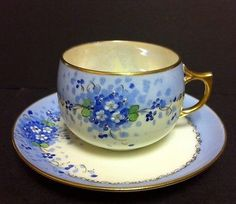 Vintage Stouffer Paul Muller Selb Hand Painted Cup & Saucer Bavaria Blue