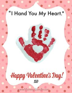 A super easy Valentine handprint craft and printable for babies or toddlers!