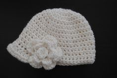 Girls crochet newsboy cap with small peak and flower detail. Off-white cap with off-white flower. Other colours available. on Etsy, $18.00 AUD