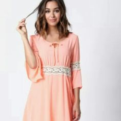 Coral Crotchet Dress New with tags Love Culture Dresses Mini