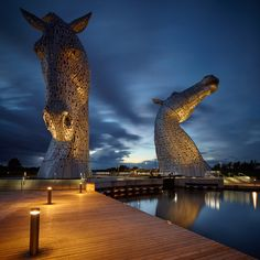 The Kelpies, Falkirk, Scotland by Matthew Palmer Scotland Road Trip, Scotland Travel, Scotland Vacation, Edinburgh Scotland, Places To Travel, Places To See, Horse Sculpture, England And Scotland, Installation Art