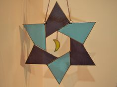 Stained Glass Suncatcher Origami Star and Moon by ZangerGlass