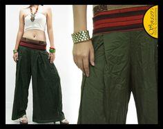 PANTS PWH07 GREEN LAOTIAN NAGA TRIBAL RAYON BOHO HAREM CASUAL GIRL LADIES WOMEN | eBay