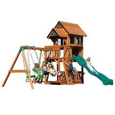Cedar Wood Outdoor Swing Set with 2 Person Glider Monkey Bars Wave Slide