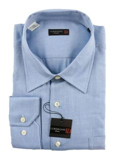 CORNELIANI ID Solid Bue Spread Collar Cotton Dress Shirt